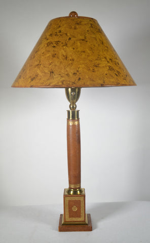 Empire Style Brass Mounted  Leather Table Lamp