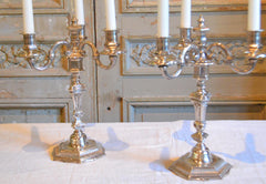 Pair of silver plated bronze candelabras