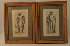 Nude Men Illustrations, Set of Two.