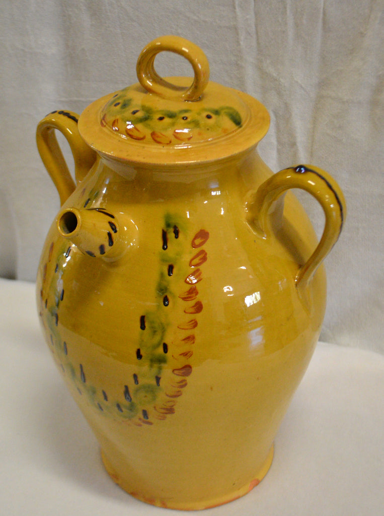 Large Covered Earthenware Water Jug