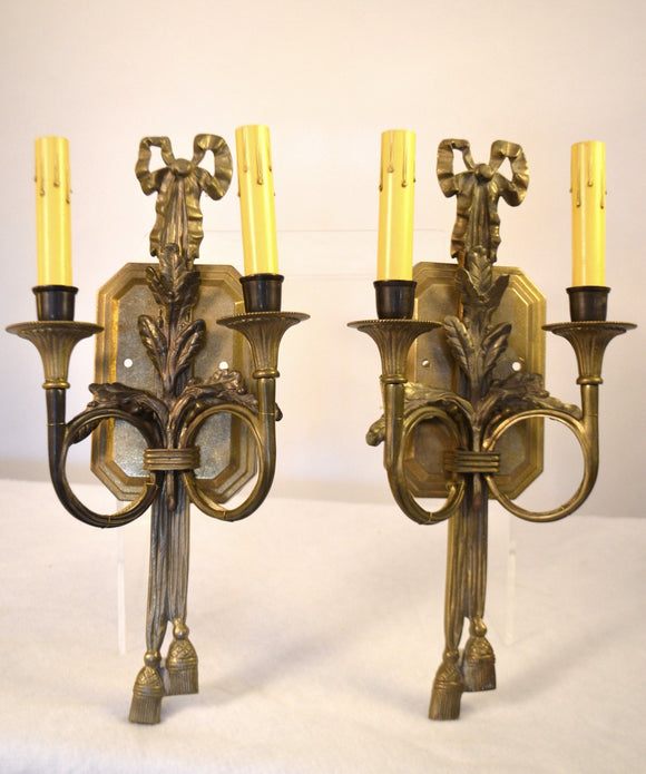 Pair Of Directoire Bronze Two Light Applique