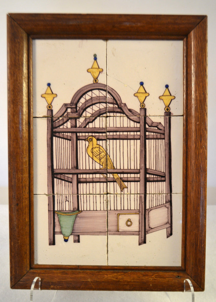 Delft Tile Panel (Bird In Cage)