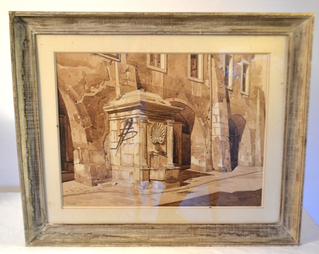 Framed Watercolor Drawing Of A Fountain