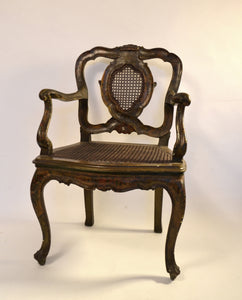 Venetian Carved And Polychrome Armchair