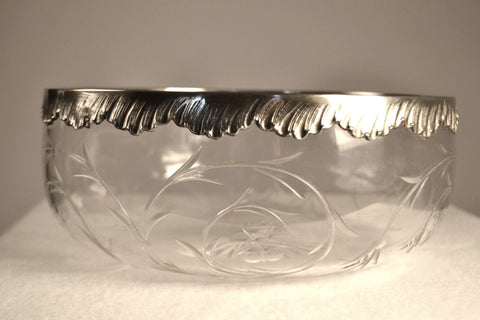 Roger Duclos Sterling Silver And Crystal Salad Bowl