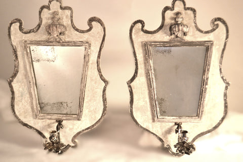 Pair of Antique Element Mirror Sconces