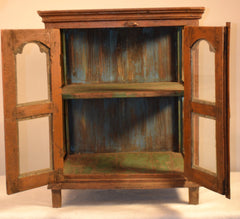 Painted Wood Hanging Shelf With Glass Doors