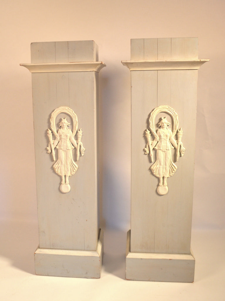 Pair Of Painted Wood Stands