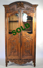 19TH Century, Walnut Glass Door Provencal Armoire/Weddiing Cabinet