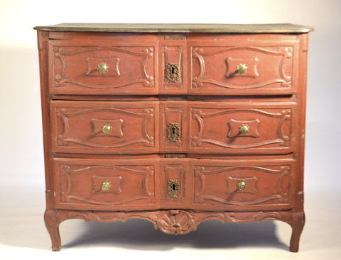 Louis XIV Commode Painted Ox Blood Red