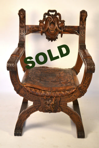 Italian Carved Oak Savonarola Chair