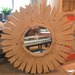 Sunburst Mirror in Wooden Frame