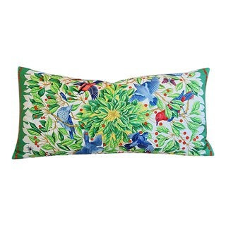 French Hermes Floral and Bird Pillow, Silk, Feather and Down