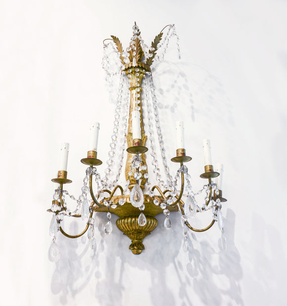 Pair of Italian Giltwood and Crystal Sconces