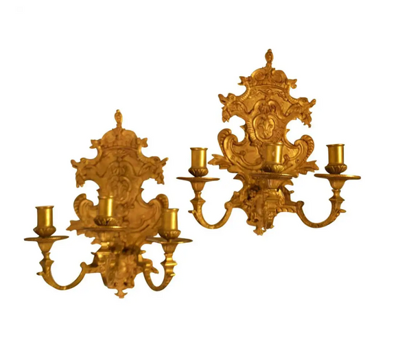 Pair Of Gilded Louis XVI Wall Sconces