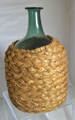 19th Century Mouth Blown Wine Bottle With Basket