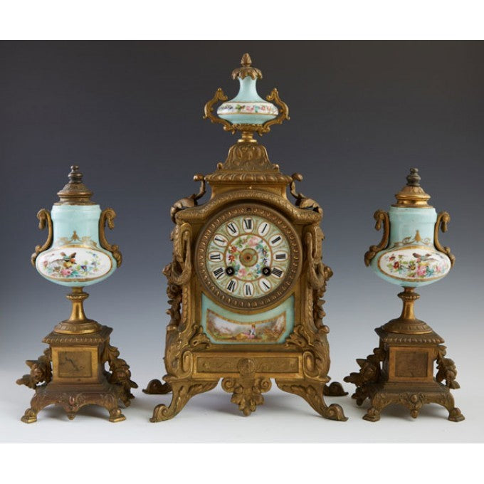 Three Piece Gilt  Porcelain Clock Set