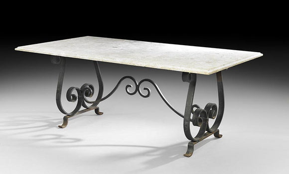 Continental Travertine And Iron Conservatory Table