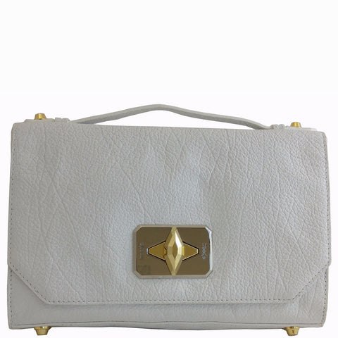 Treesje Harlow White Leather Crossbody Front