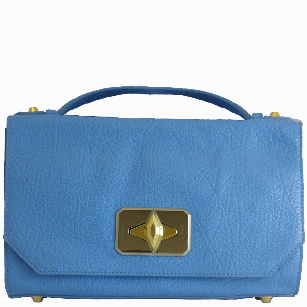 Treesje Harlow Belize Blue Leather Crossbody Front