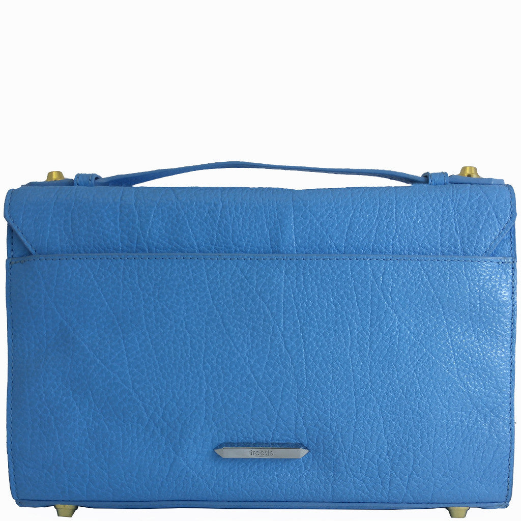 Treesje Harlow Belize Blue Leather Crossbody Back