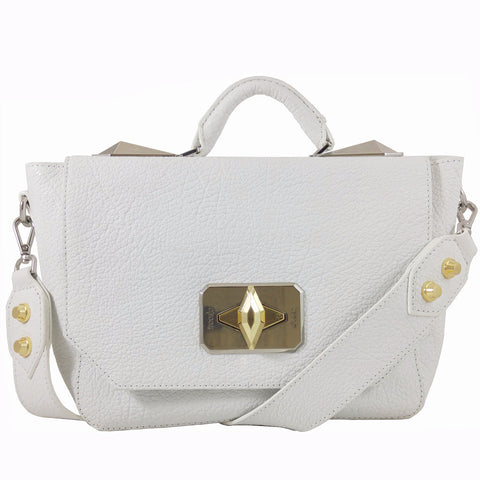 Treesje Clara White Leather Satchel Front
