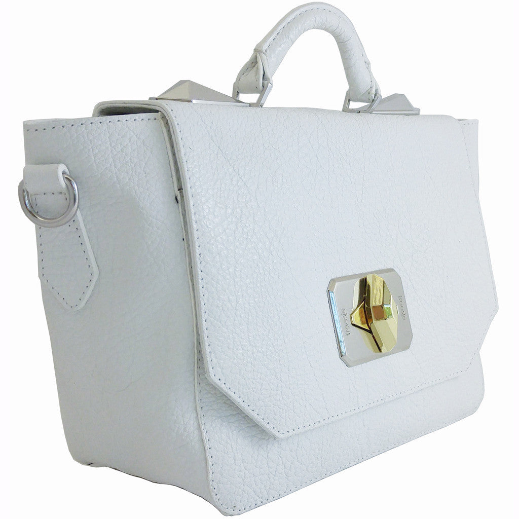 Treesje Clara White Leather Satchel Angle