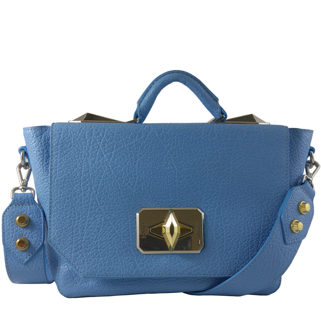 Treesje Clara Belize Blue Leather Satchel Front