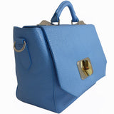 Treesje Clara Belize Blue Leather Satchel Angle