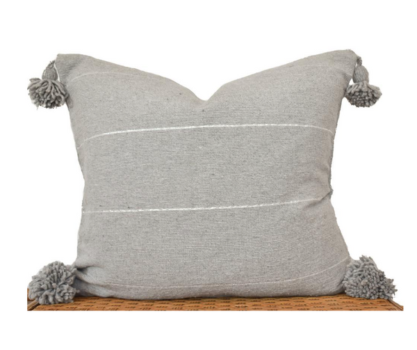 Grey Pom Pom- Pillow