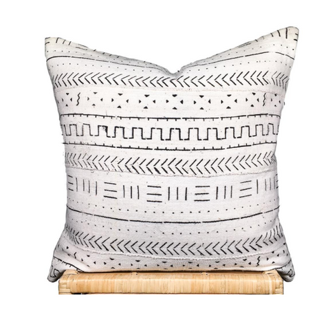 African White Mudcloth- Pillow