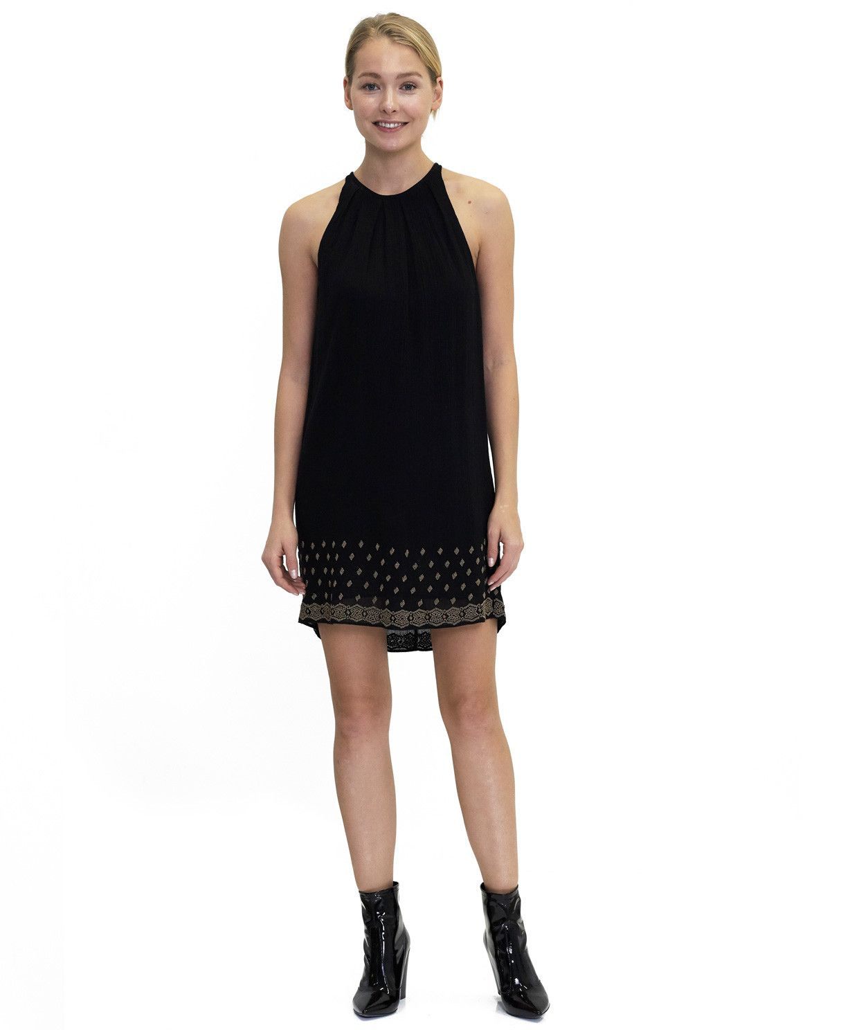 Tangrine NYC women's cotton beaded Alexandra dress in black best seller