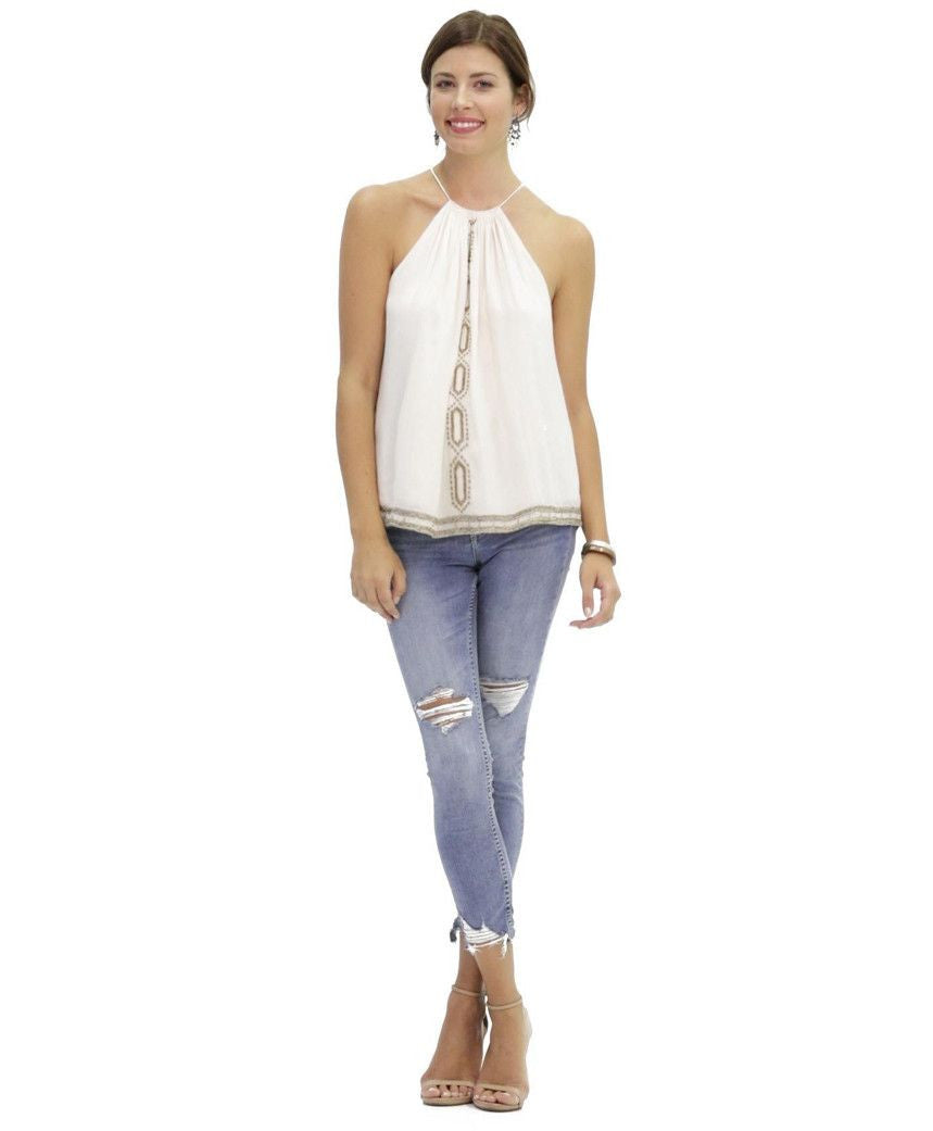 Ally Embroidered Cotton Tank in Argan