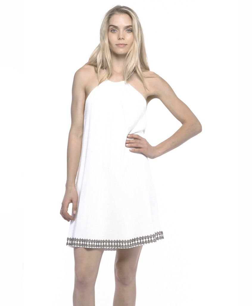 Annie Beaded Cotton Halter Dress in Bella