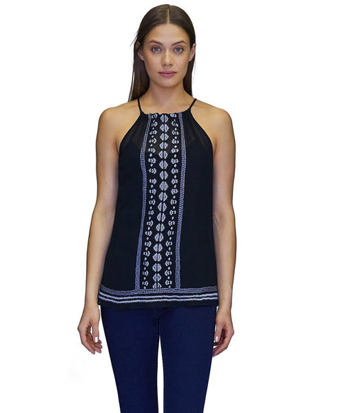 Lizzie w Embroidery Tank in Black