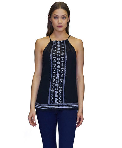 Lizzie Viscose w Embroidery Tank Top in Black