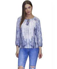 Flowy Blouse Blue White Summer