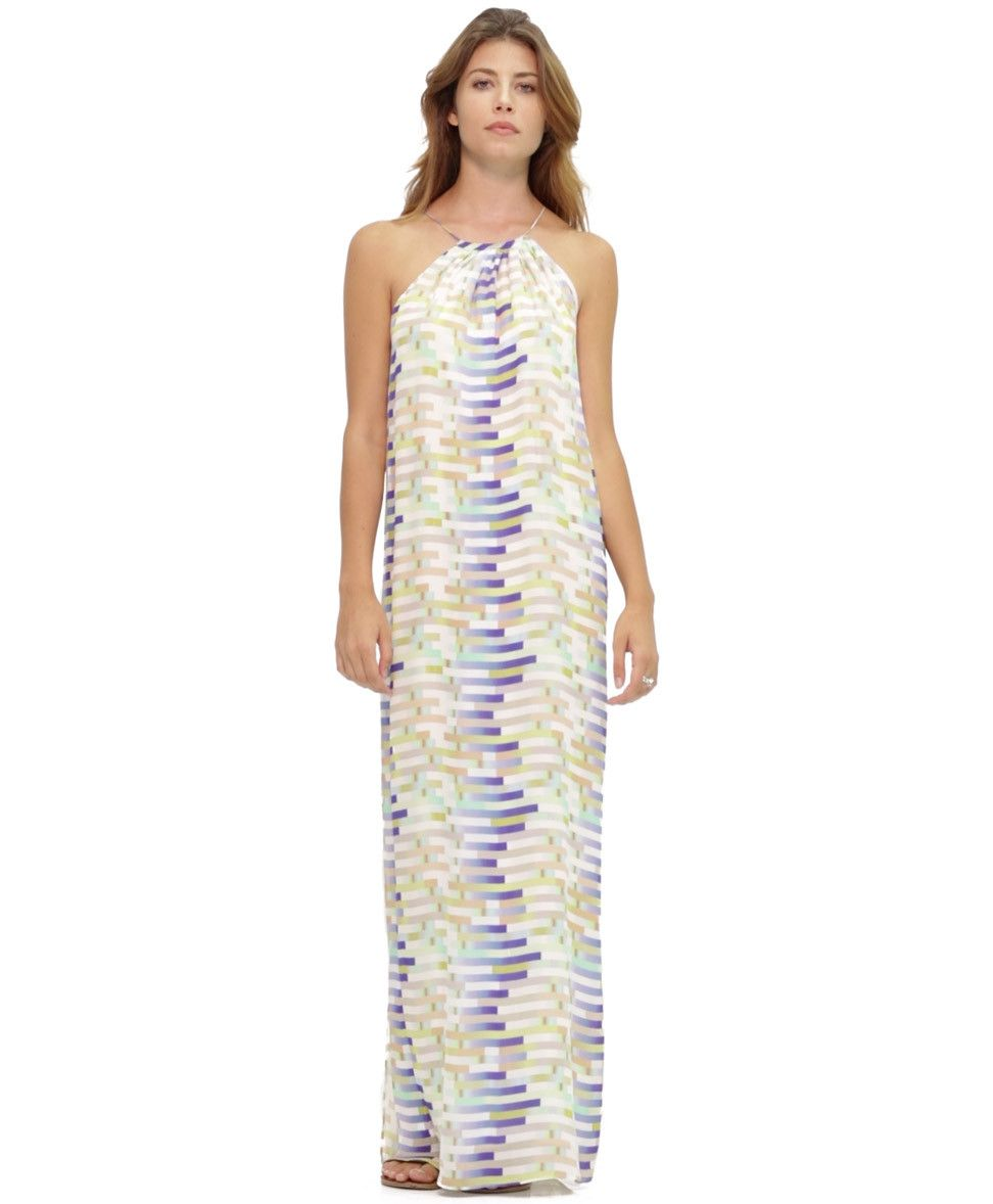Tangerine NYC women's silk halter maxi dress in a colorful blue and white print best seller