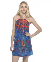 printed Silk Bailey Dress is halter style in a blue and red print fully lined