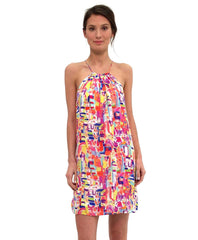 Tangerine NYC women's halter dress in a colorful red white pink print best seller