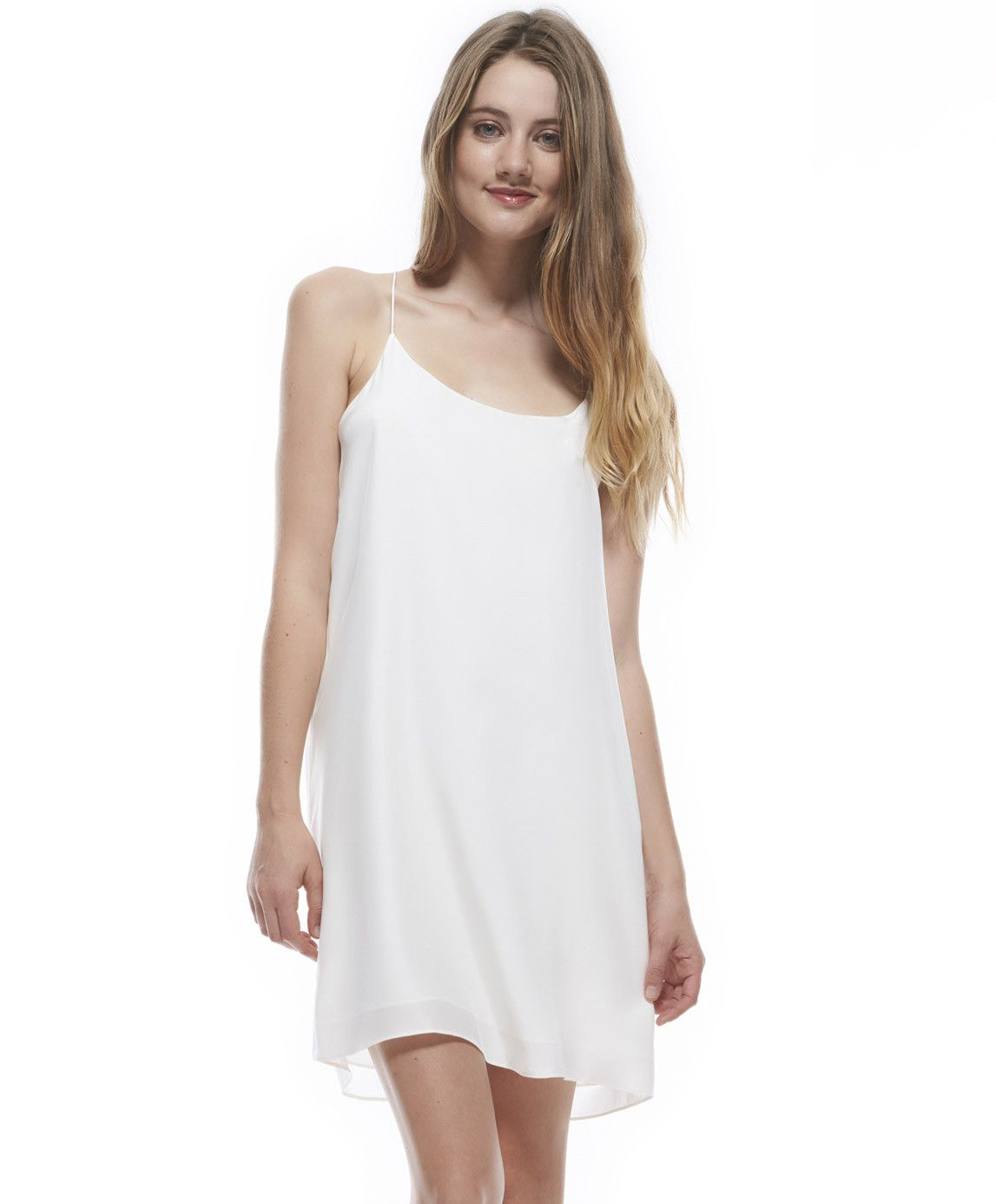 Tangrine NYC women's silk spaghetti strap Reed dress in off white best seller