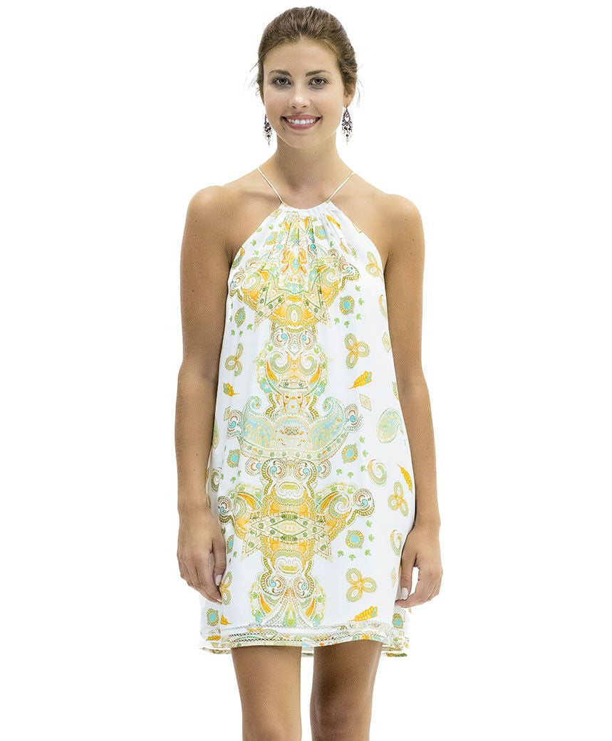 Yellow White Patterned Summer Dress