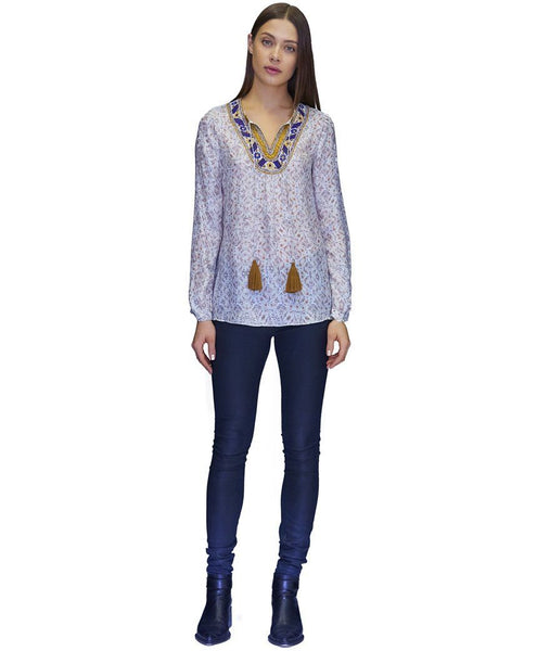Elenia Cupro Embroidered Blouse in Fall Waves