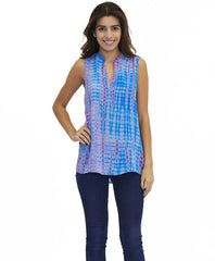 Tangerine NYC women's silk sleeveless V-Neck Ella top in blue and pink tie dye best seller