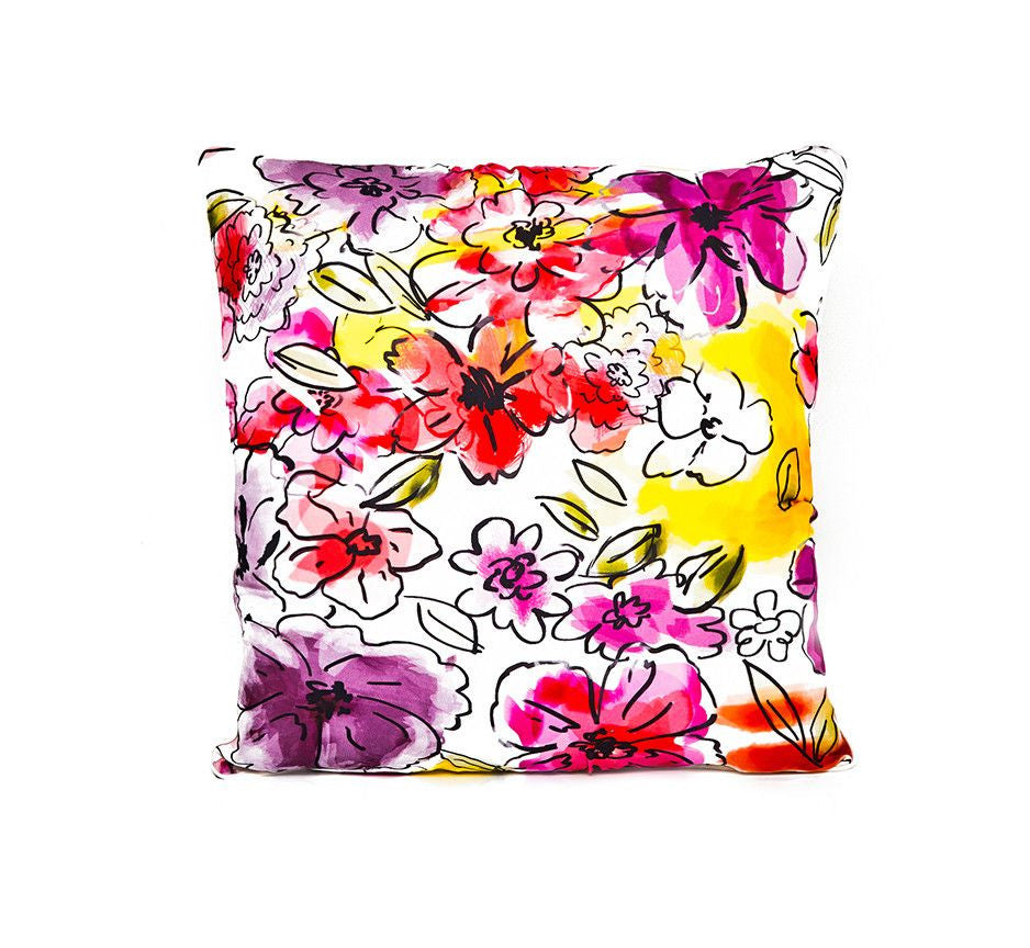 Silk Pillow in Pretty Flowers Print