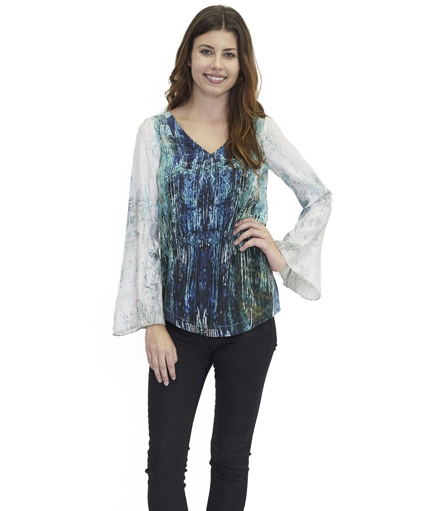 Tangerine NYC women's silk flaired sleeve Jennifer blouse in blue and white print