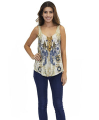 Tangerine NYC women's silk Jorden tank in beige and blue print best seller