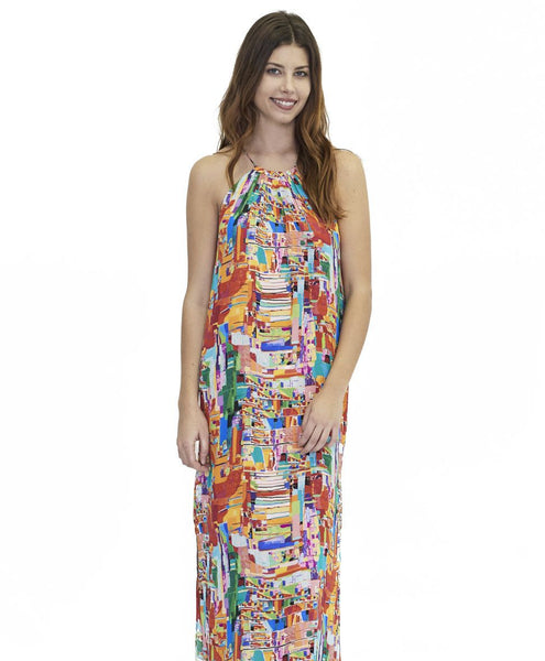 Karlie Silk Dress Geometric Print