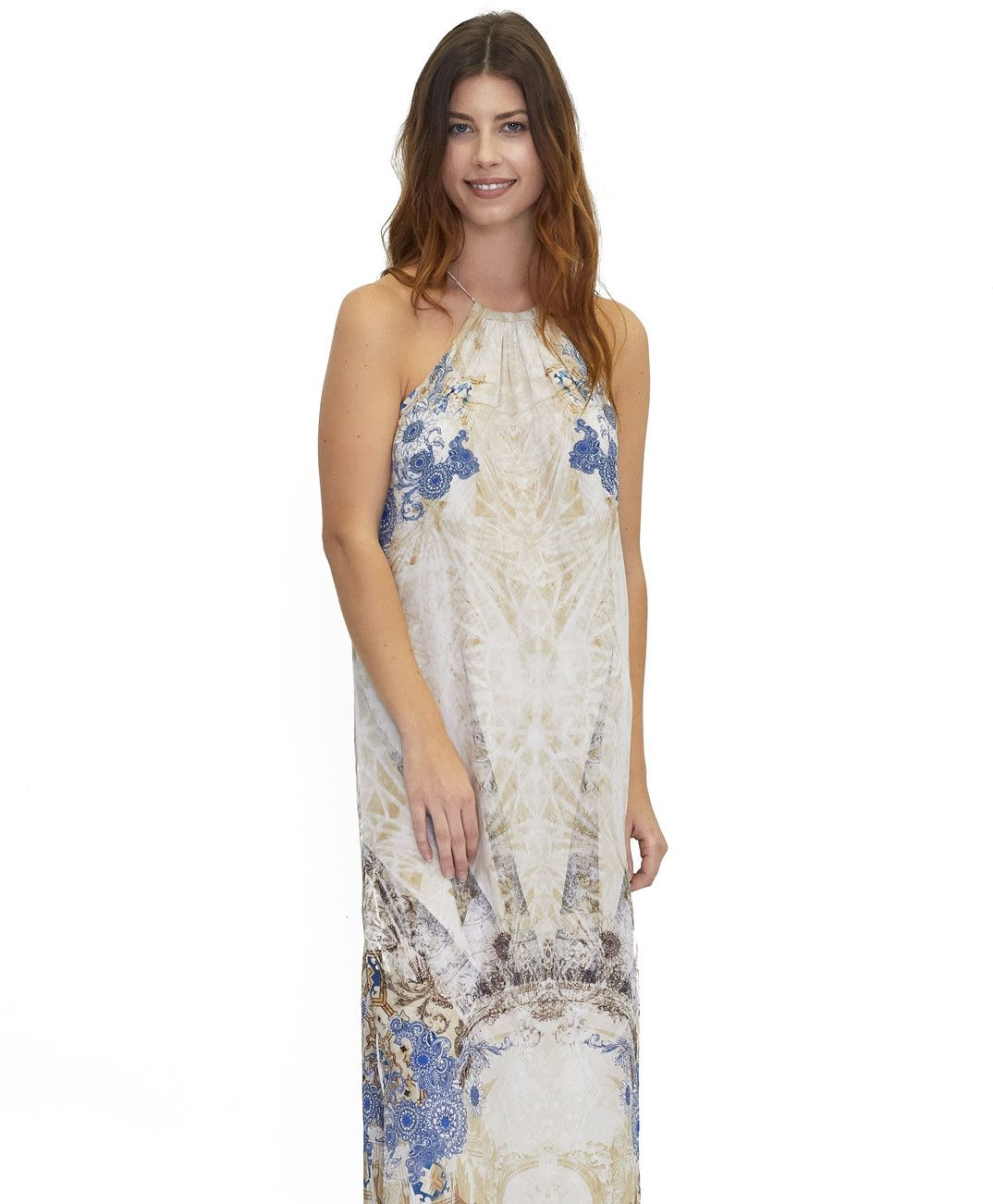 Tangerine NYC women's silk halter maxi dress neck tie in a khaki and blue print best seller