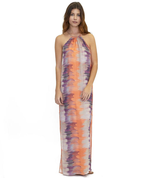 Tangerine NYC women's silk halter maxi dress neck tie in a orange and blue print best seller